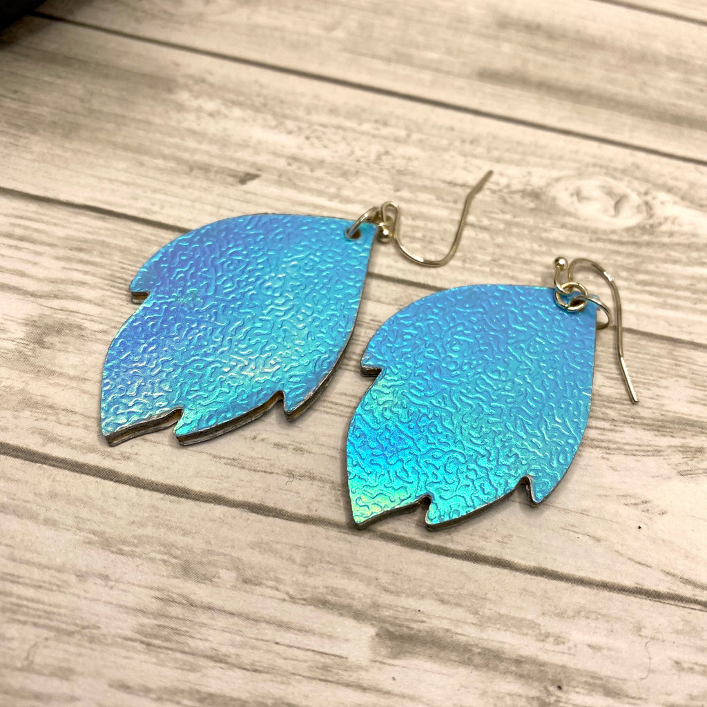 Blue Holographic Wood Leaf Earrings