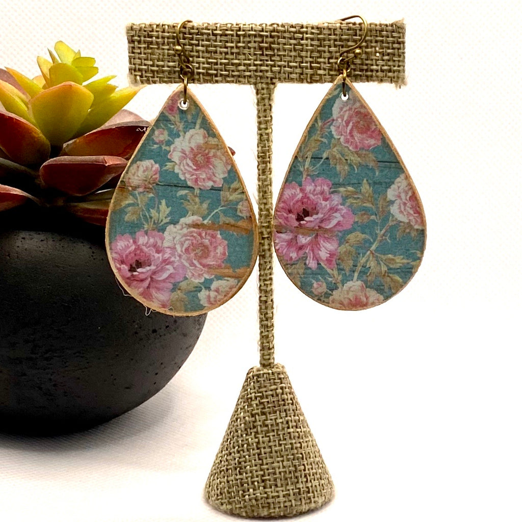 Vintage Rose and Blue Wood Earrings