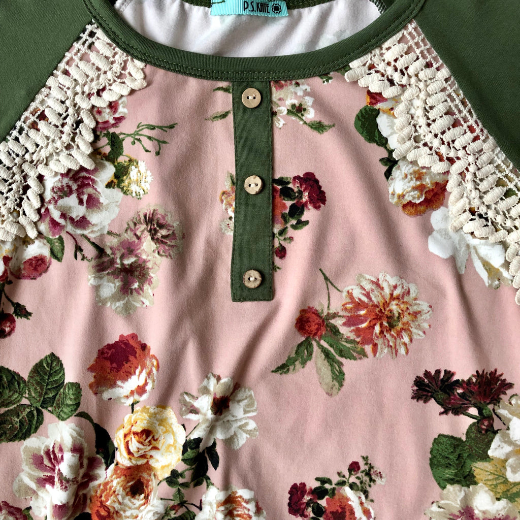 Mauve and Olive Floral Top
