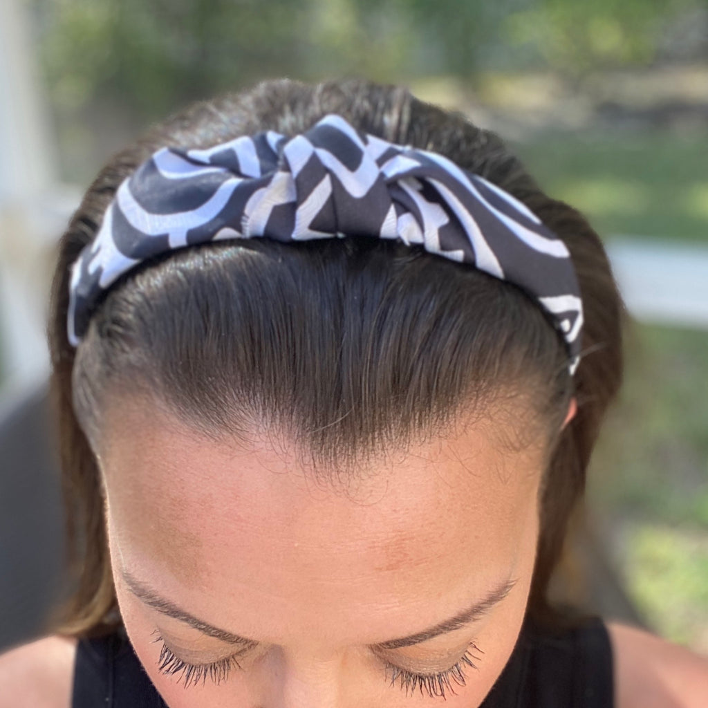 Black and White Upcycled Silk Knot headband