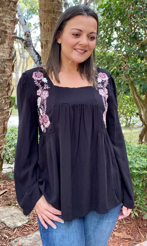 Black and Pink Flower Embroidered Top