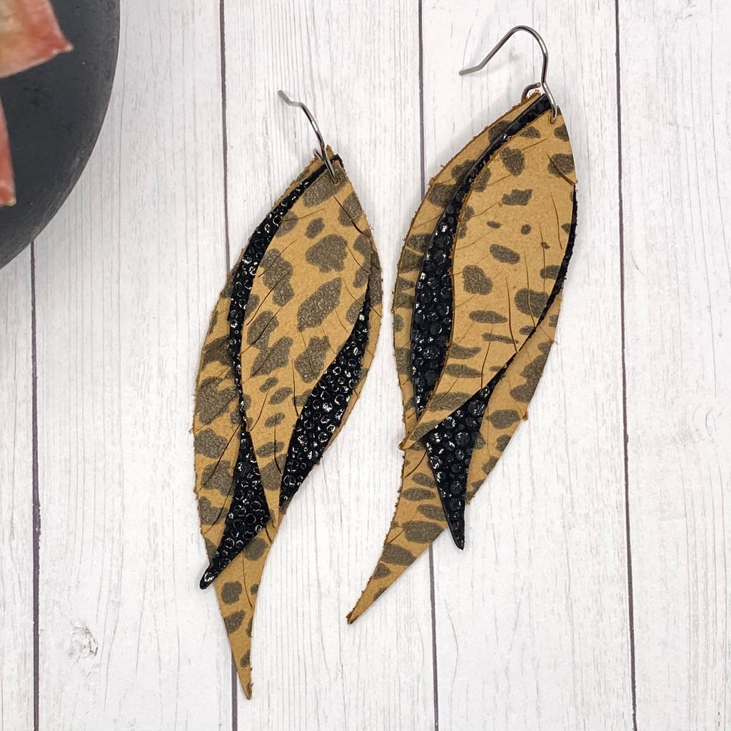 Genuine Leather Animal Print and Black Feather Earrings
