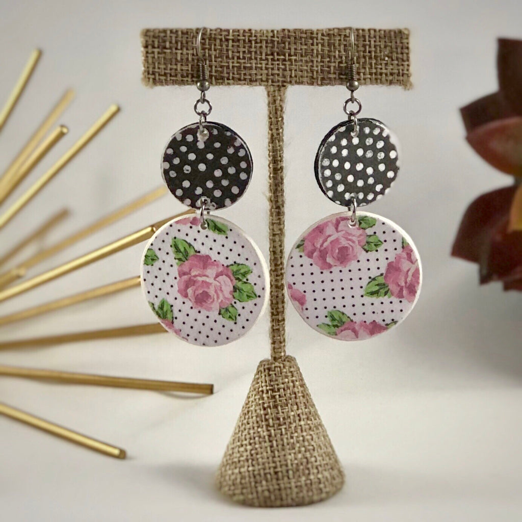 Double Circle Wood Rose Earrings