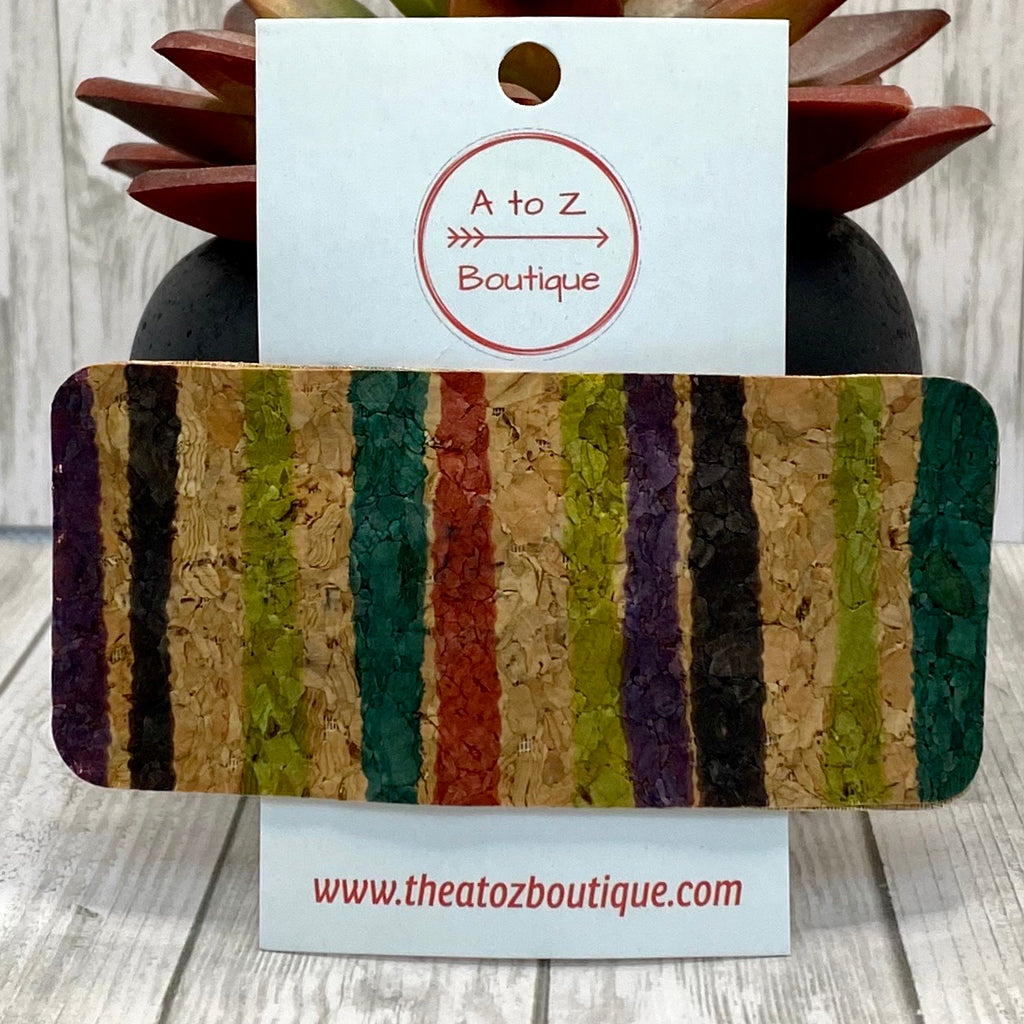 Multicolored Striped Cork Hair Clip