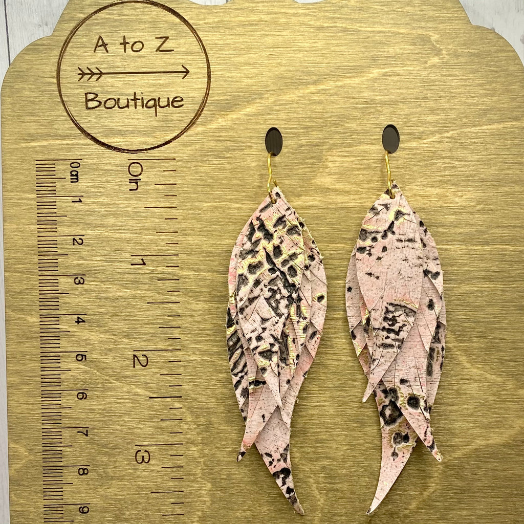 Pink and Bronze Genuine Leather Feather Earrings
