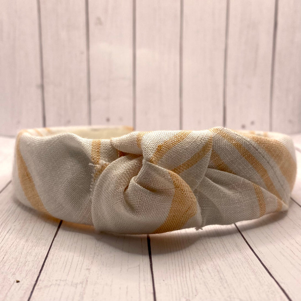 Orange and White Linen Upcycled headband