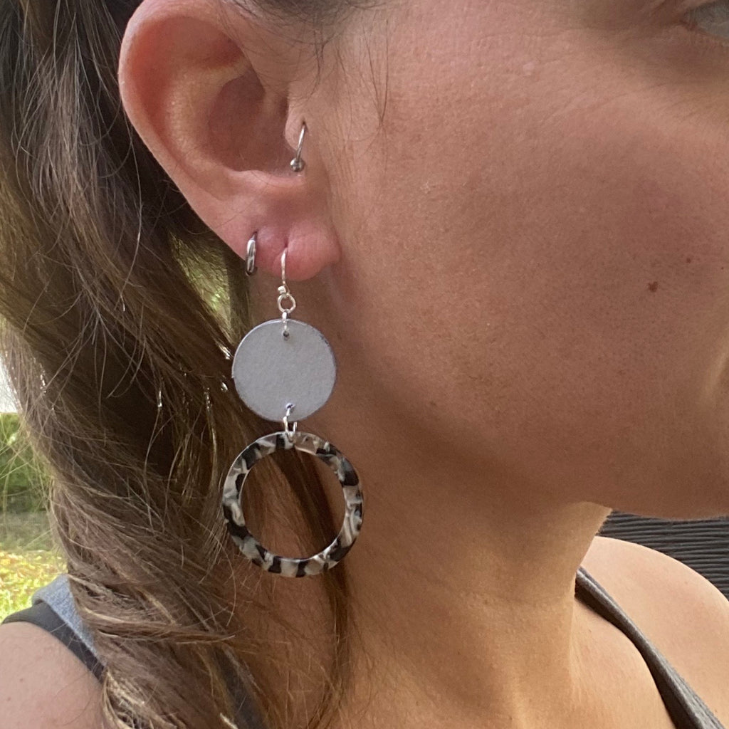 Silver and Black Wood and Acrylic Double Circle Earrings