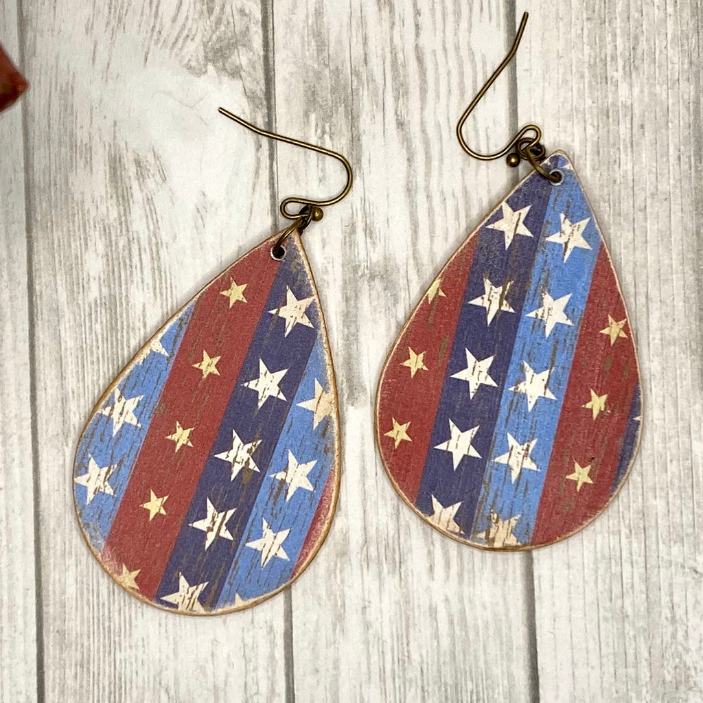 Red White Blue Stars  Wood Earrings