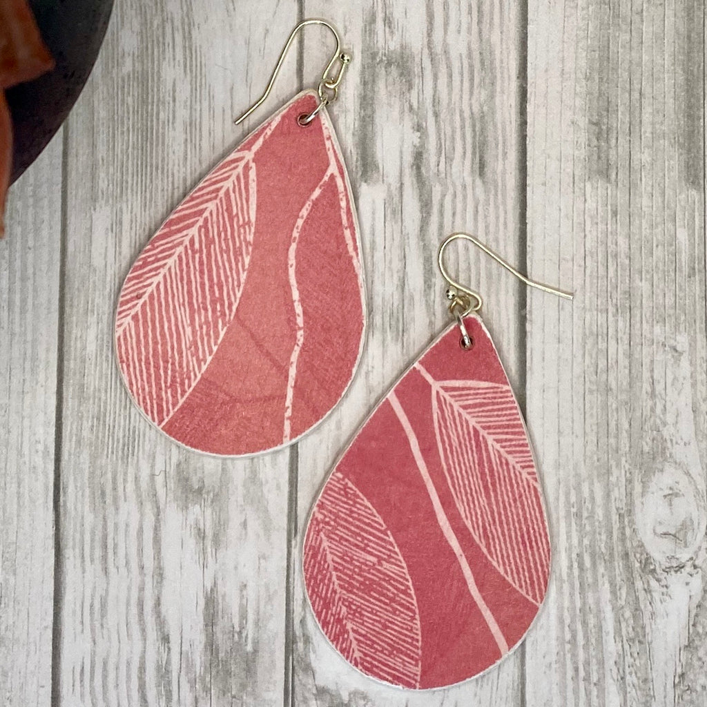 Coral and White Leaf Wood Earrings