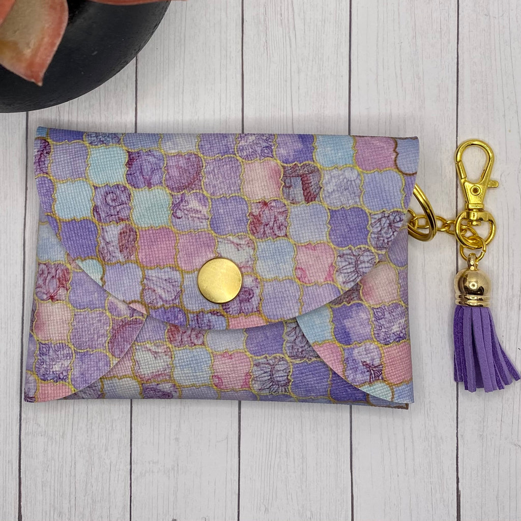 Purple Faux Leather ID Wallet Mask Holder
