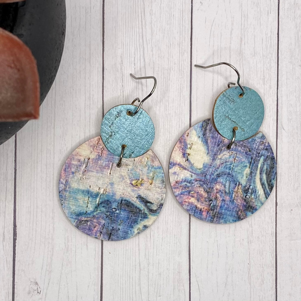 Blue Swirl Cork and Leather Earrings