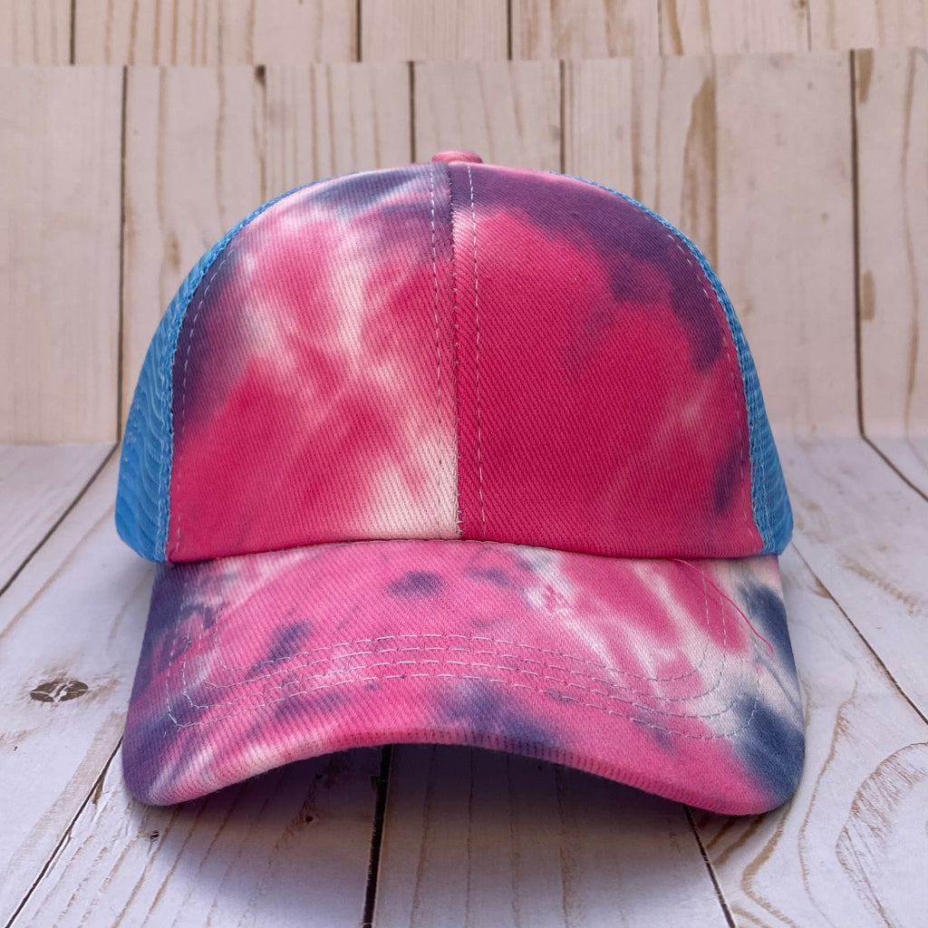 Pink and Blue Tie Dye Distressed Criss Cross Ponytail Hat