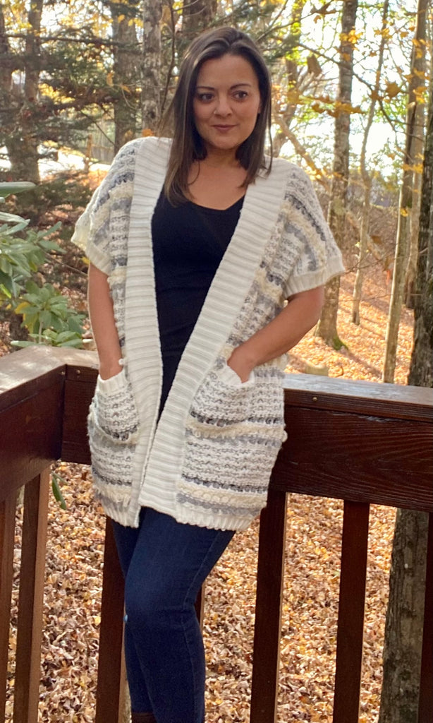 Cream Gray Striped Short Sleeve Sweater