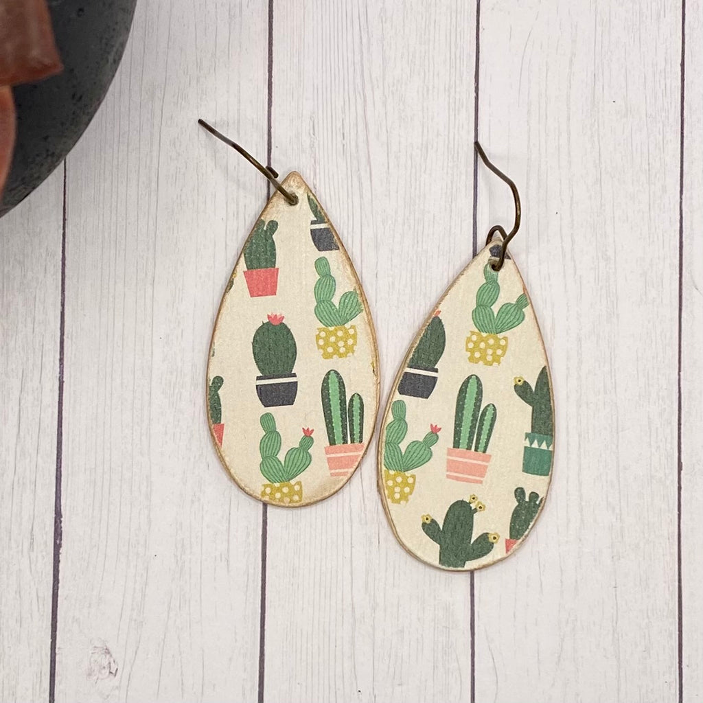 Cactus  Floral Wood Earrings