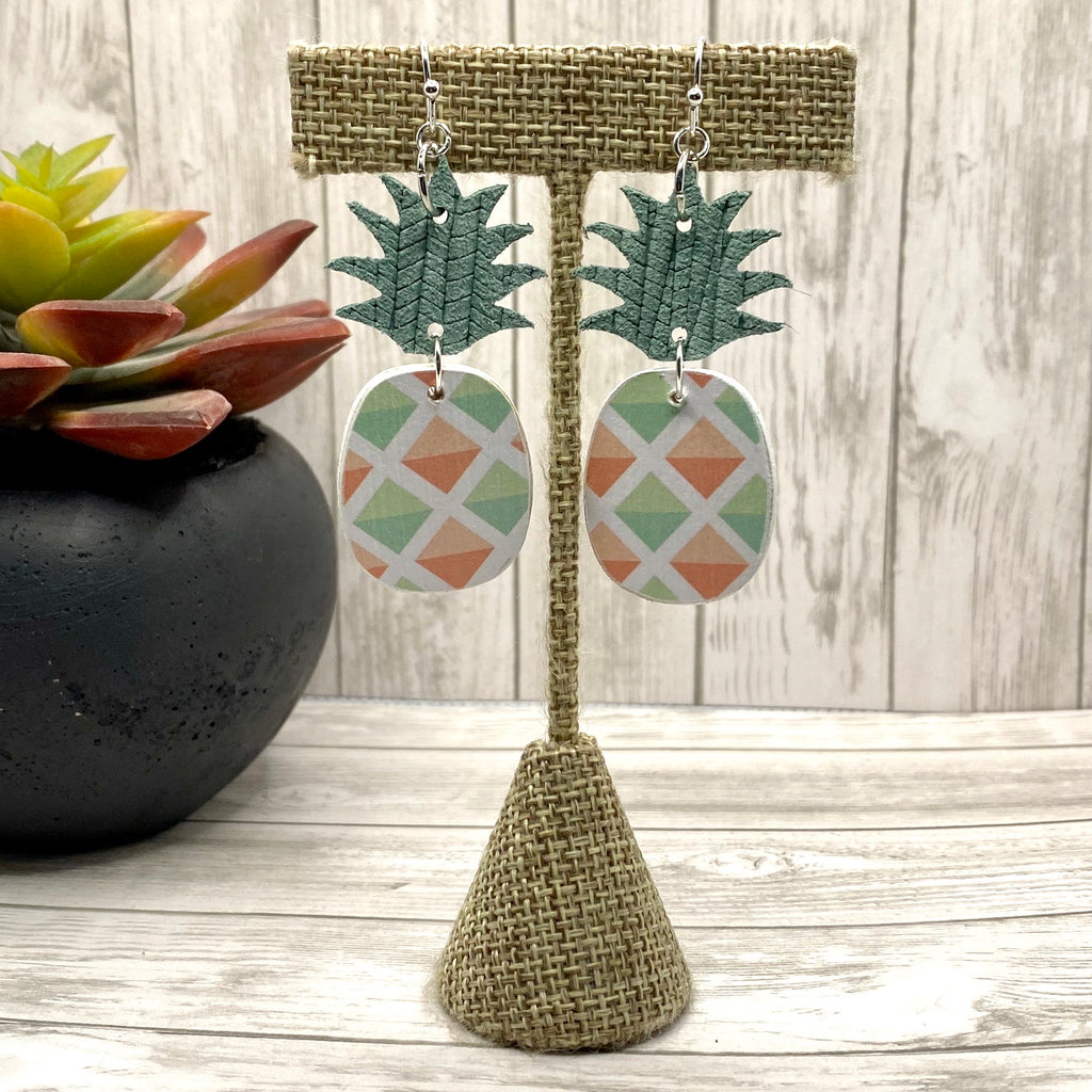 Mint and Peach Pineapple Earrings