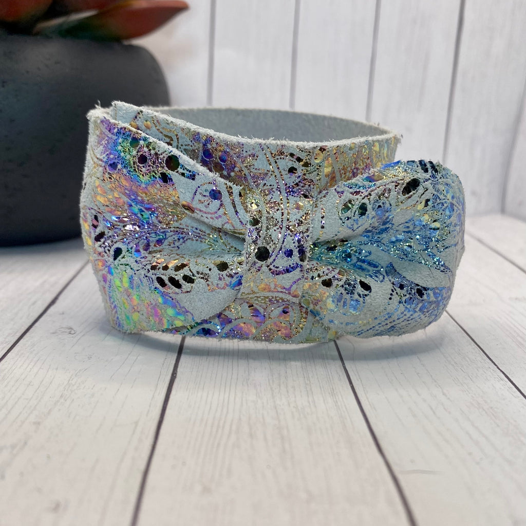 White Iridescent Paisley Genuine Leather Bow Cuff Bracelet