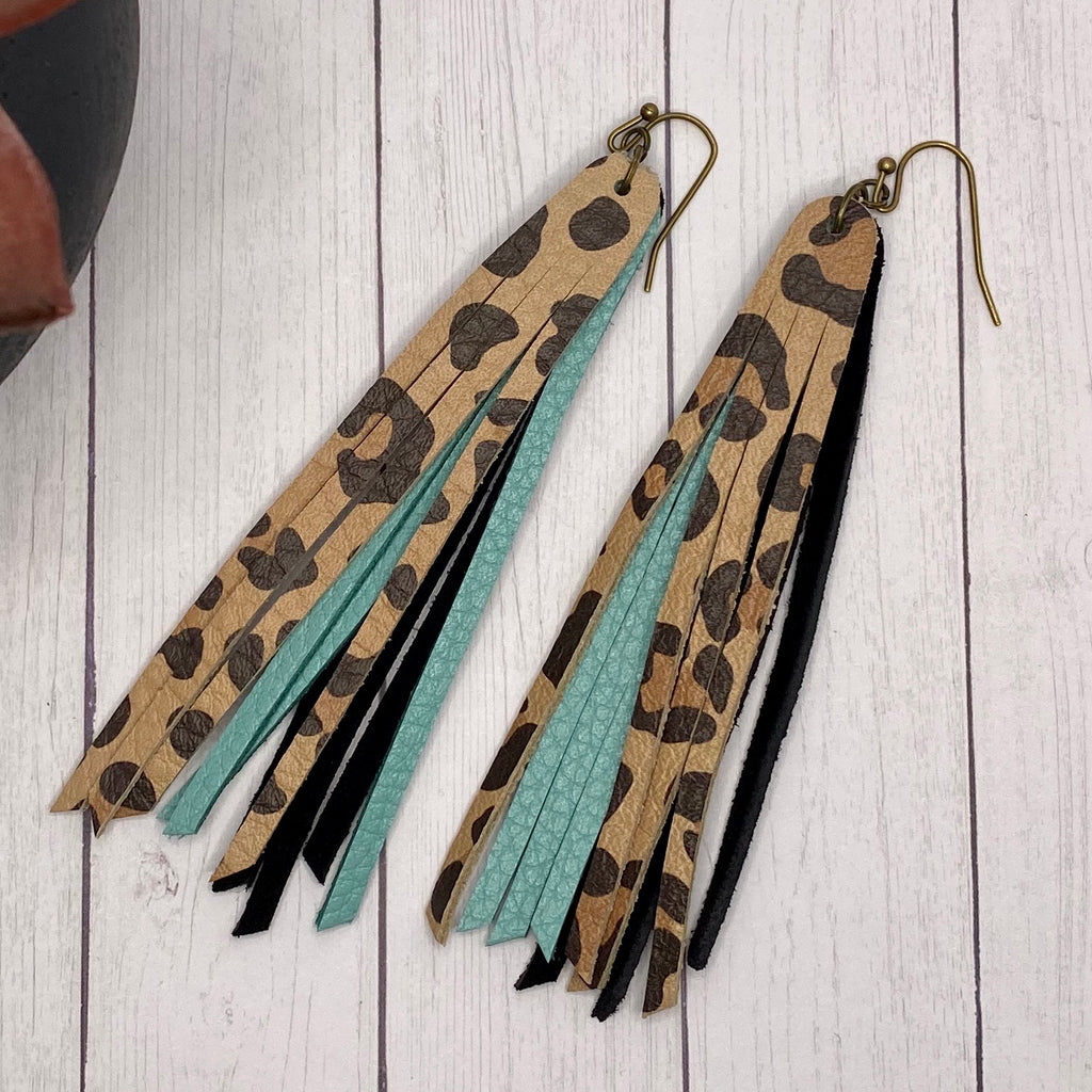 Genuine Leather Turquoise Leopard Fringe Earrings