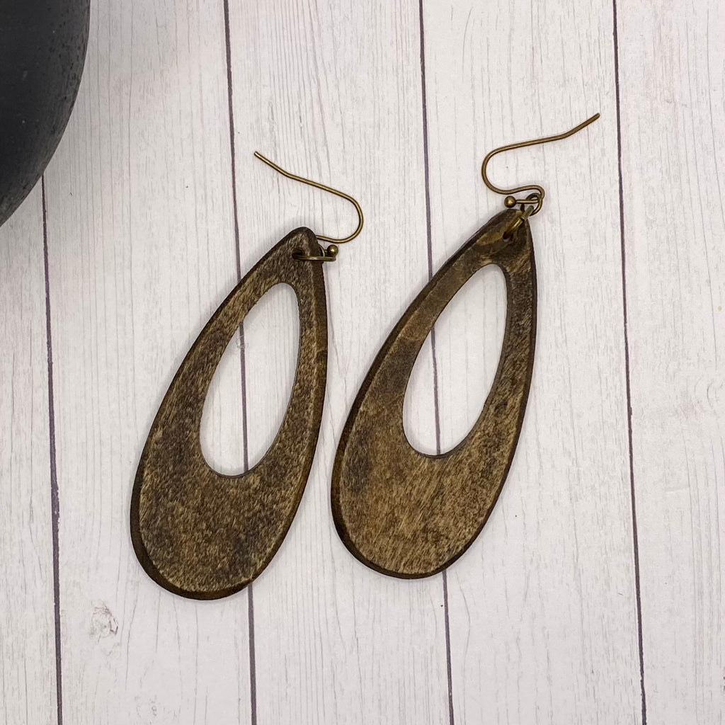 Dark Wood Oval Hoop Earrings