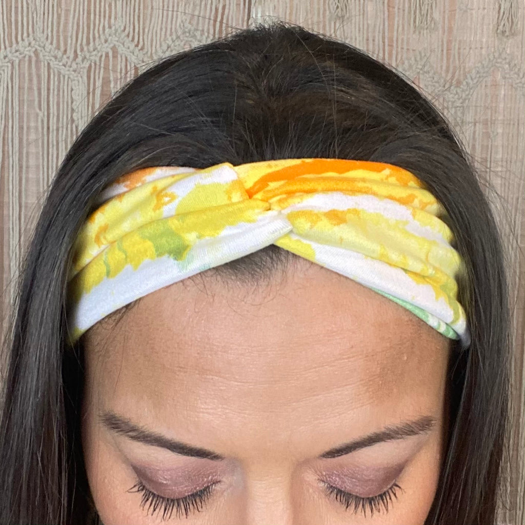 White Yellow and Green Knotted Head Wrap