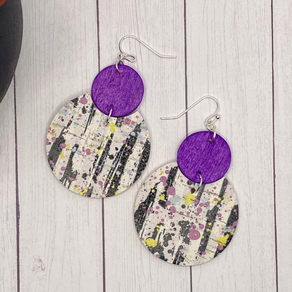 Black White & Purple Wood and Leather Earrings
