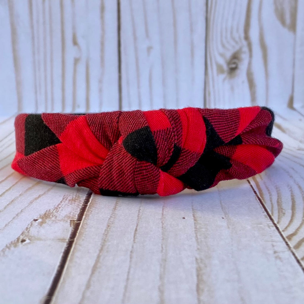 Buffalo Plaid Knot headband