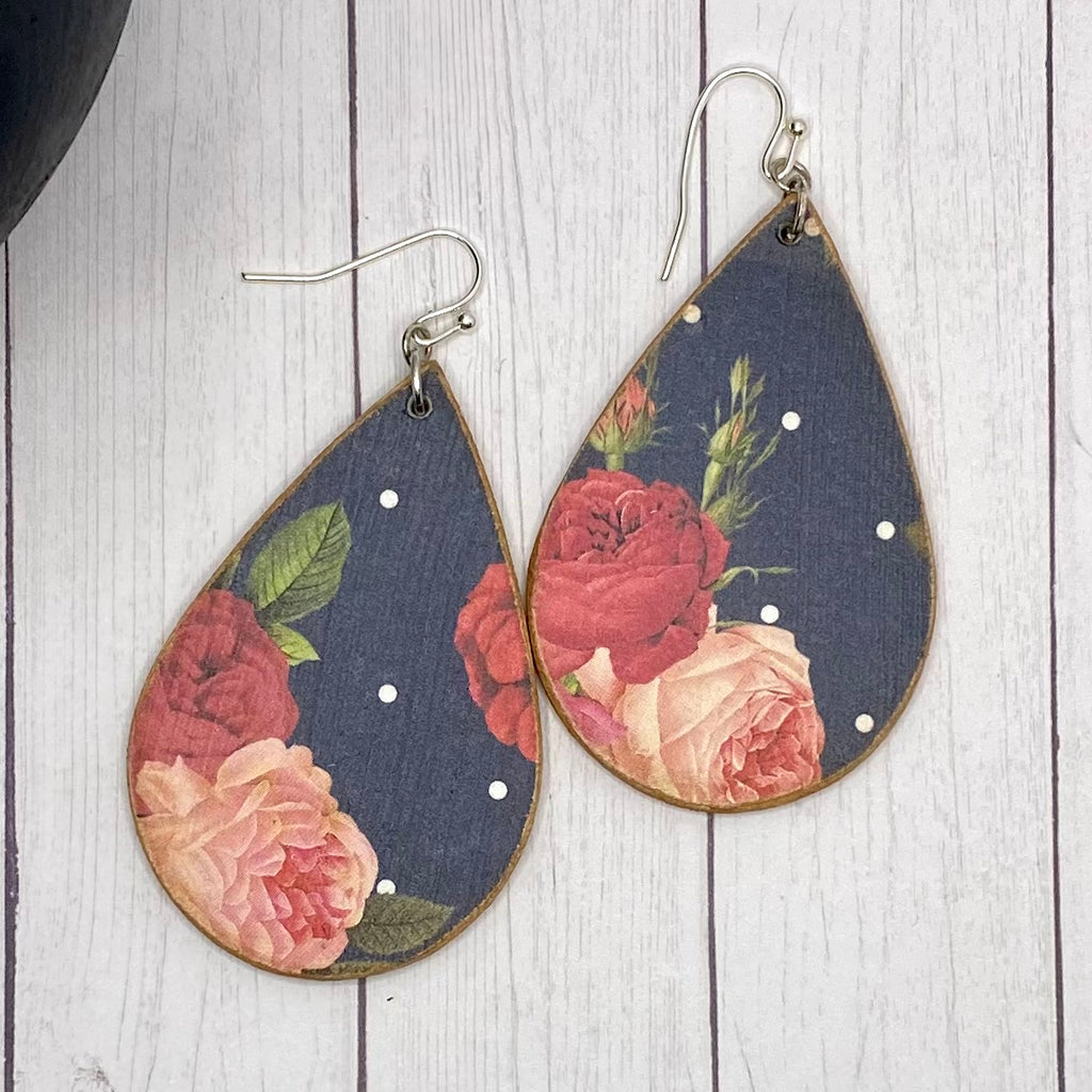 Navy and Roses Wood Earrings