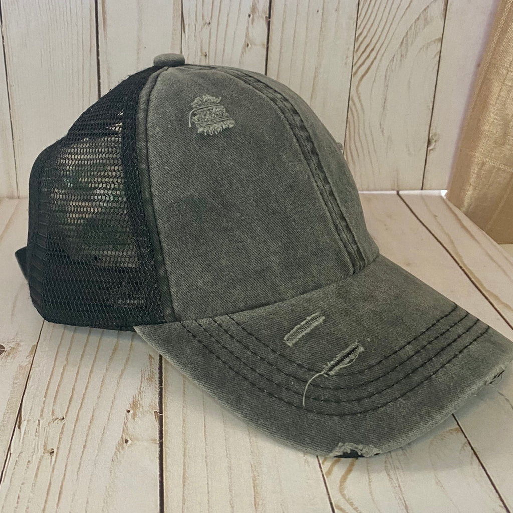 Black Distressed Criss Cross Ponytail Hat