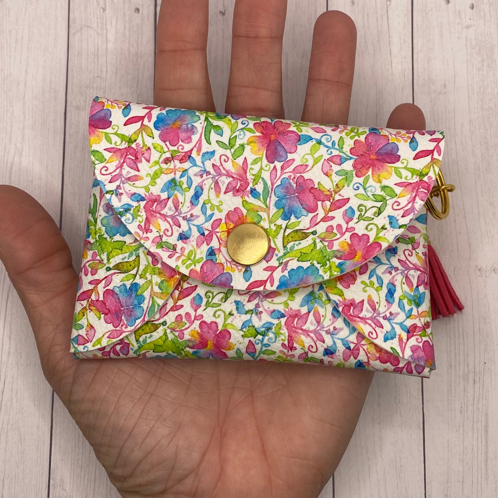 Pink Watercolor Flower Faux Leather ID Wallet Mask Holder