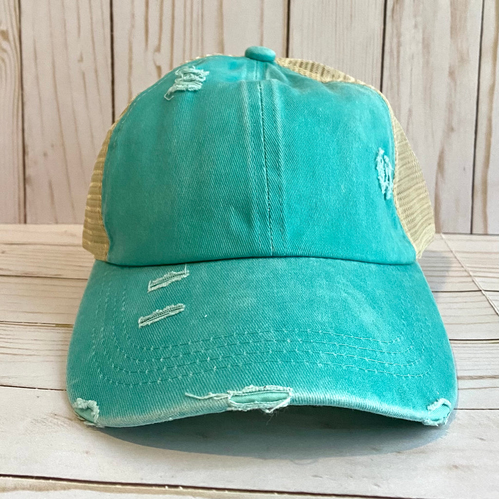 Teal Distressed Criss Cross Ponytail Hat