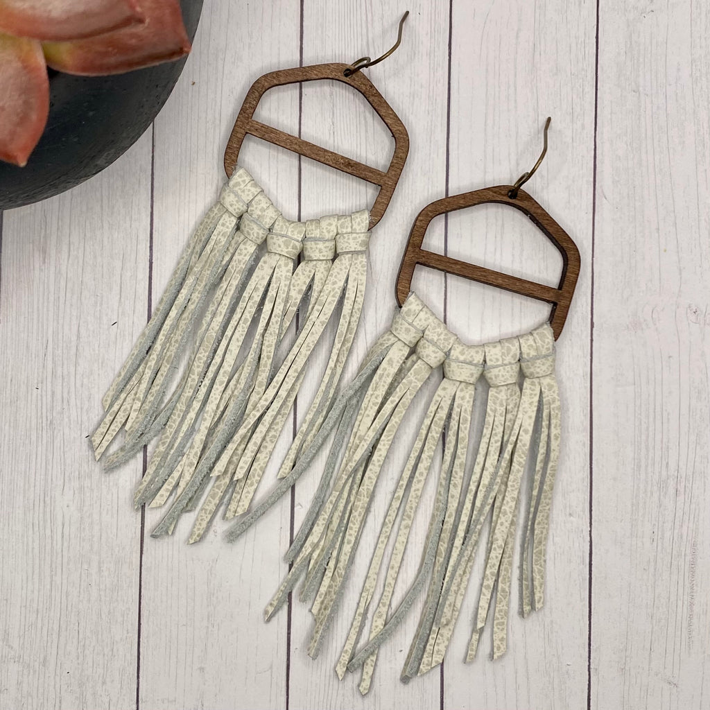 Off White Leather Fringe Wood Hoop Earrings