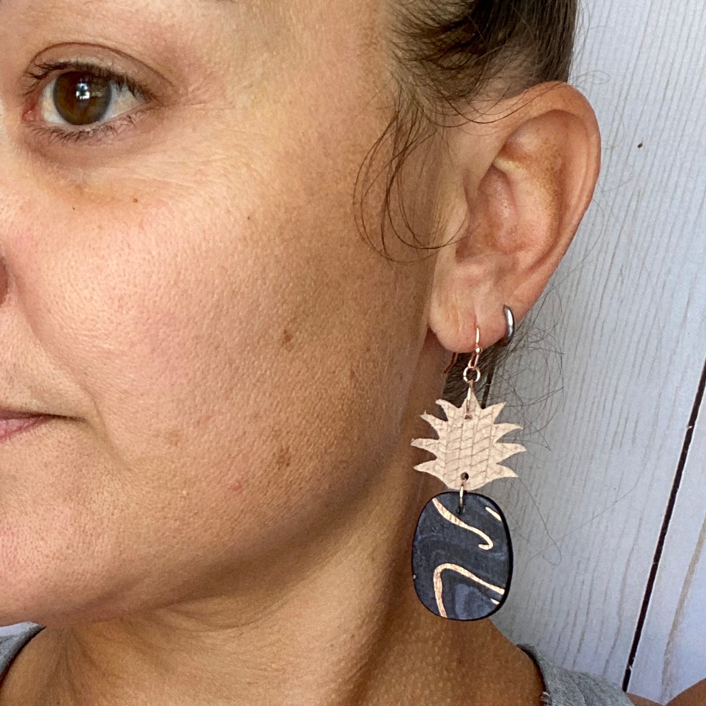 Black and Rose Gold Pineapple Earrings
