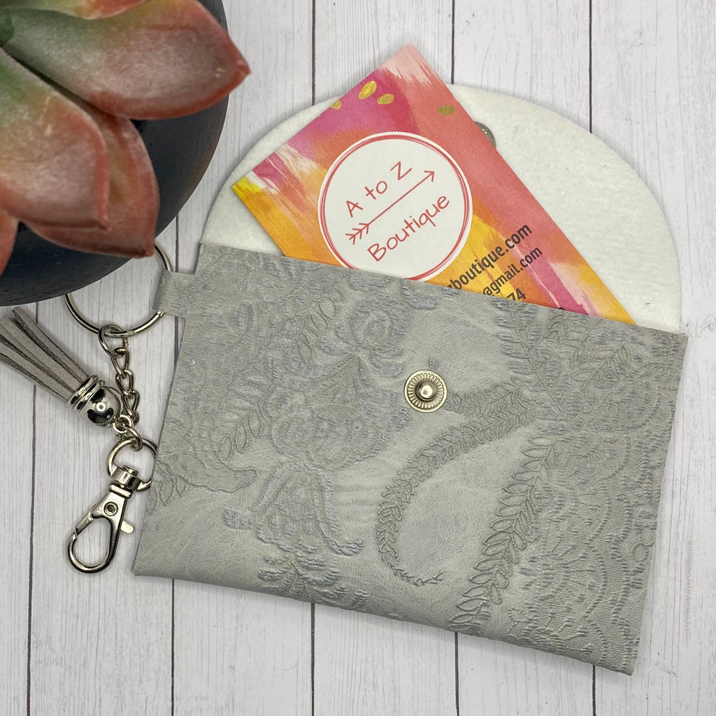 Gray Embroidered ID Wallet Mask Holder