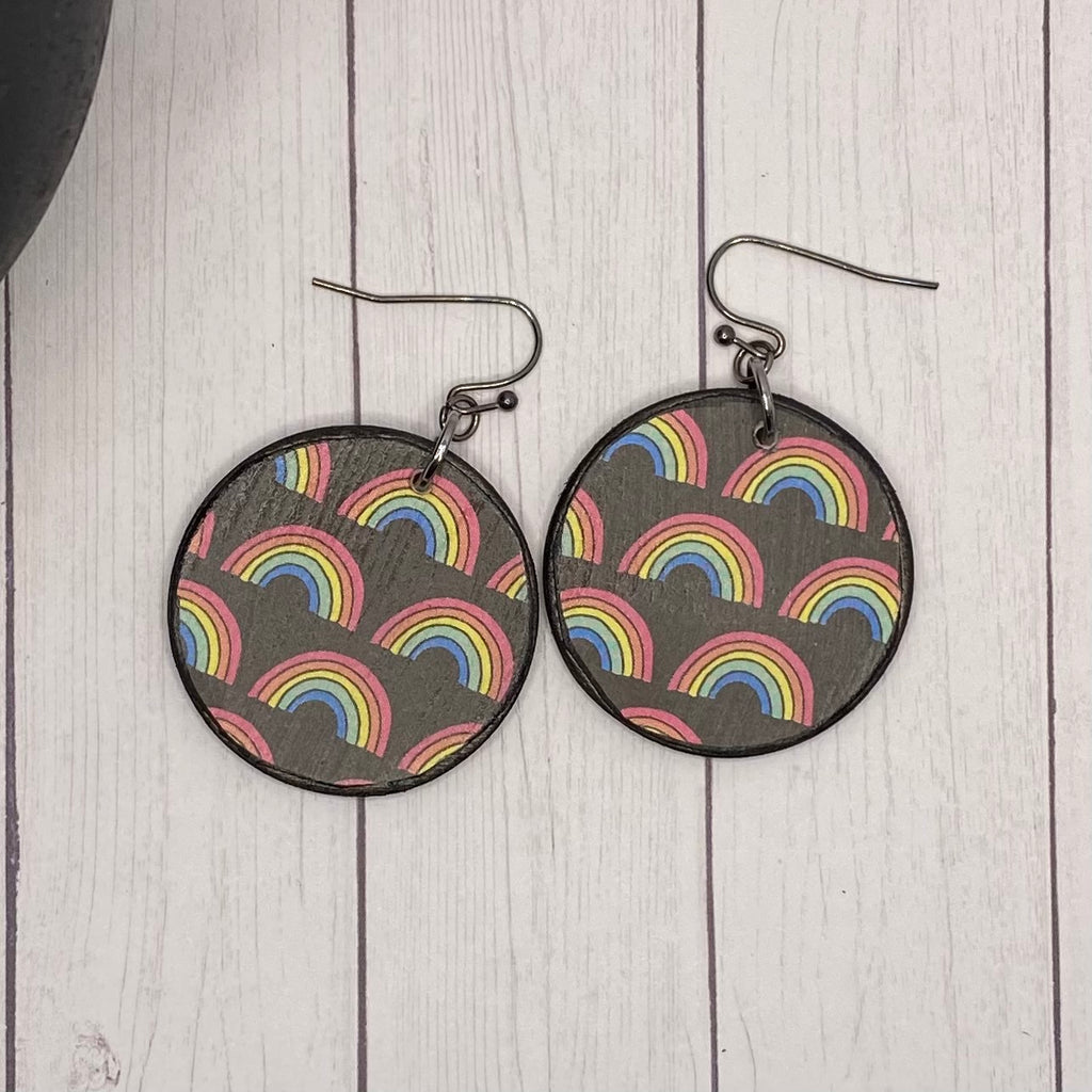 Round Rainbow Wood Earrings