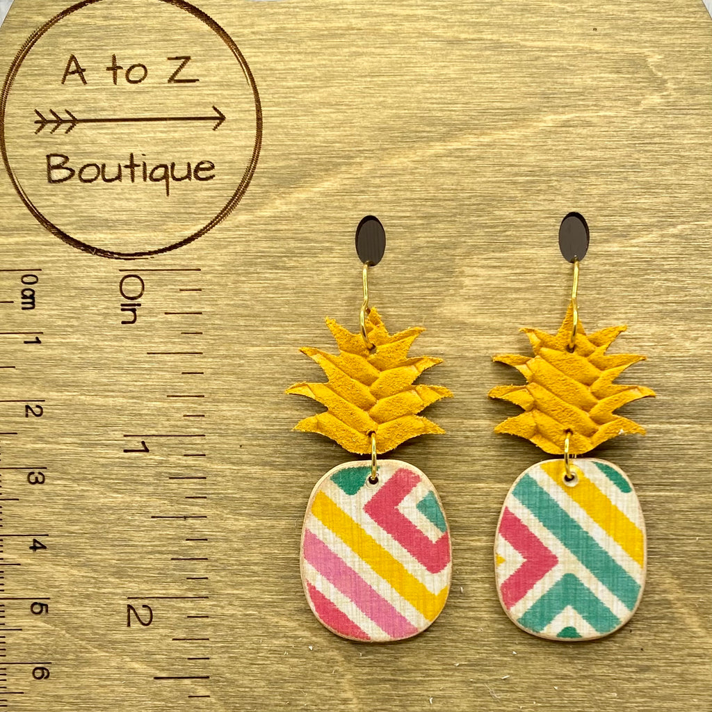 Gold and Green Pineapple Earrings