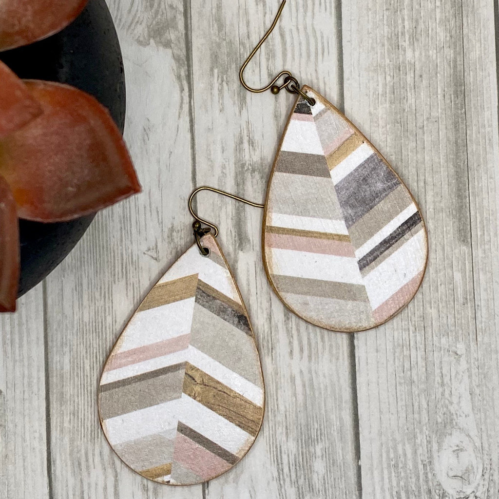 Double Sided Handmade Wood Earrings White Pink and Brown Chevron  Distressed Wood Pattern