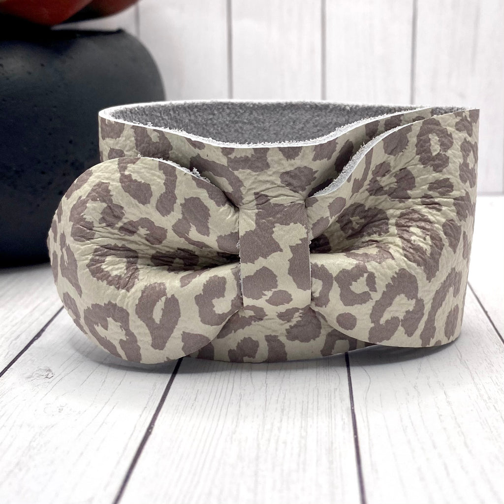 Gray and White Animal Print  Genuine Leather Bow Cuff Bracelet