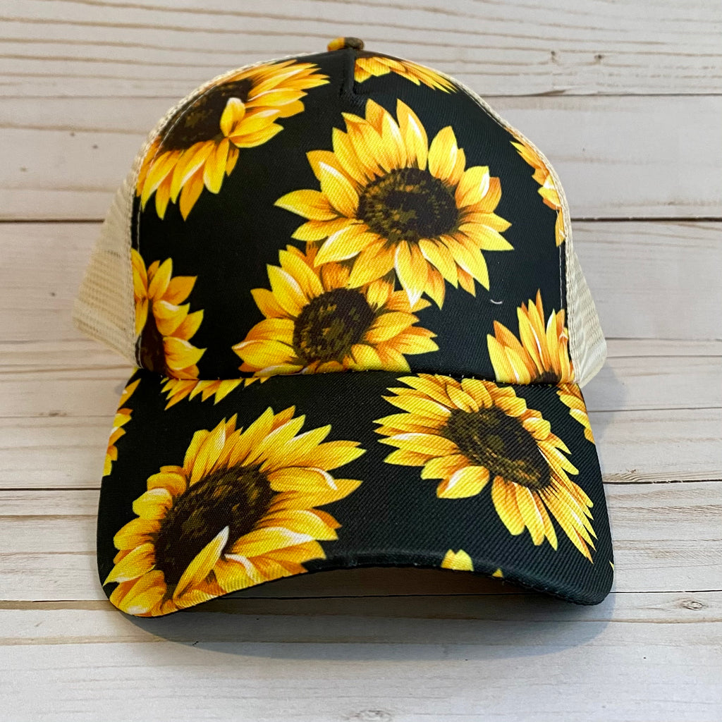 Sunflower Distressed Criss Cross Ponytail Hat
