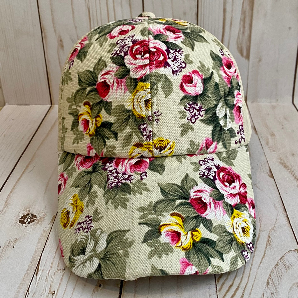 Ivory and Pink Floral Trucker Hat