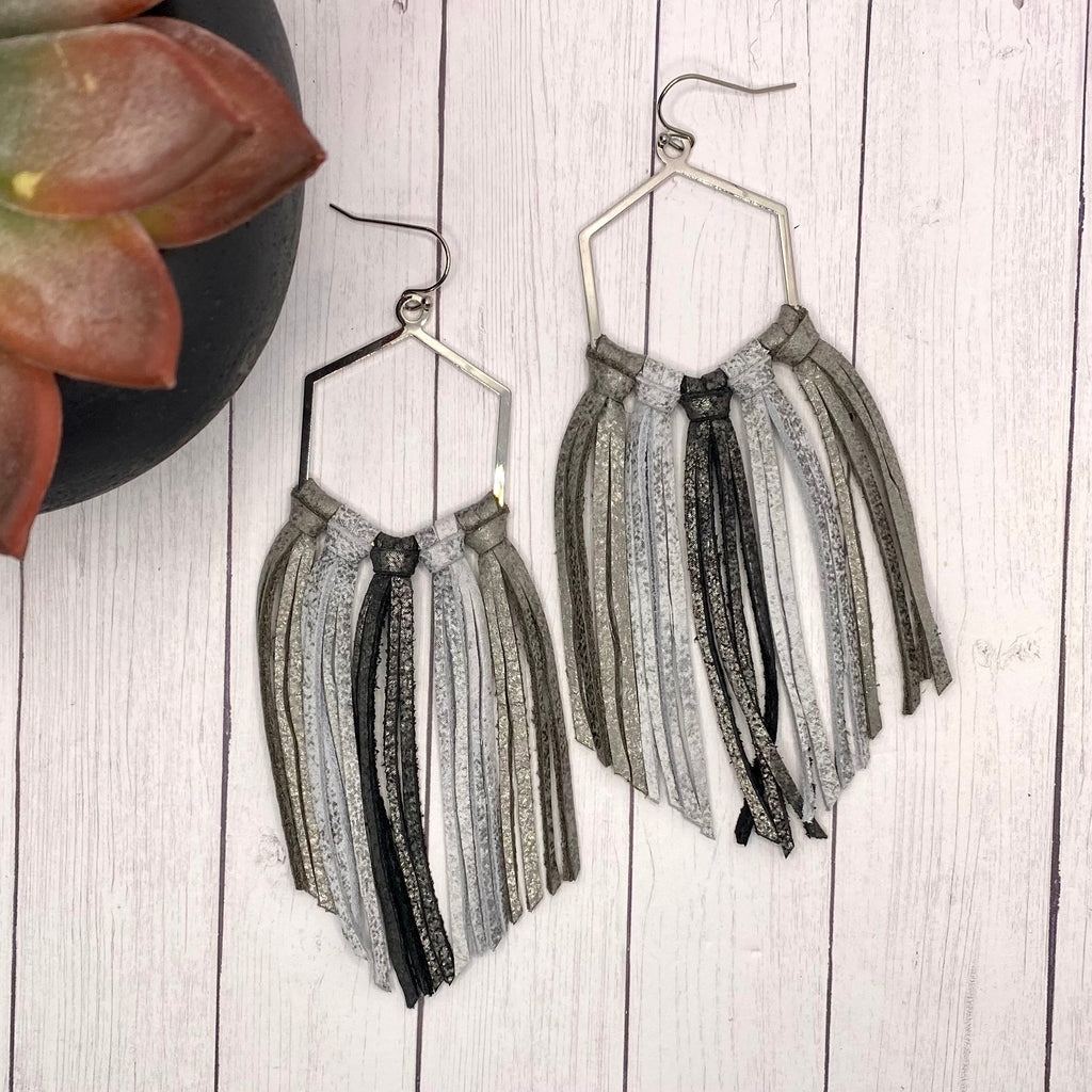 Ombré Gray Leather Fringe Hoop Earrings