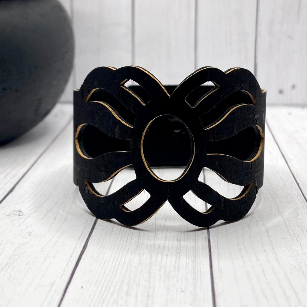 Black Cutout Cork Cuff