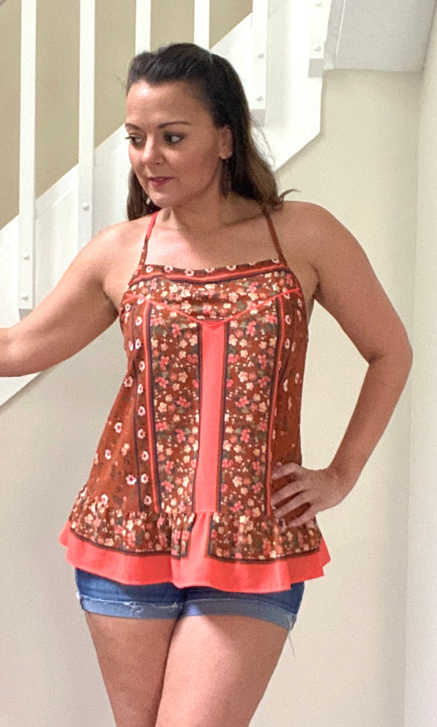 Orange Floral Ruffle Hem Top