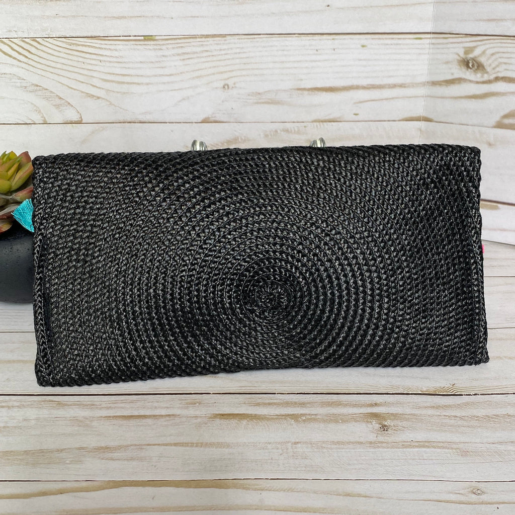Black Straw and Tassel Clutch