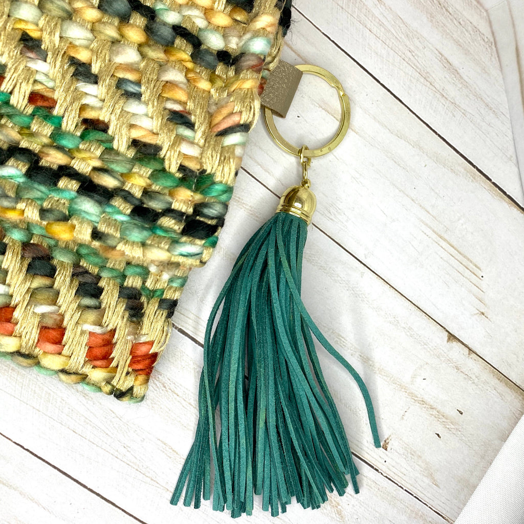 Tan Handmade Woven Rag Purse with Tassel