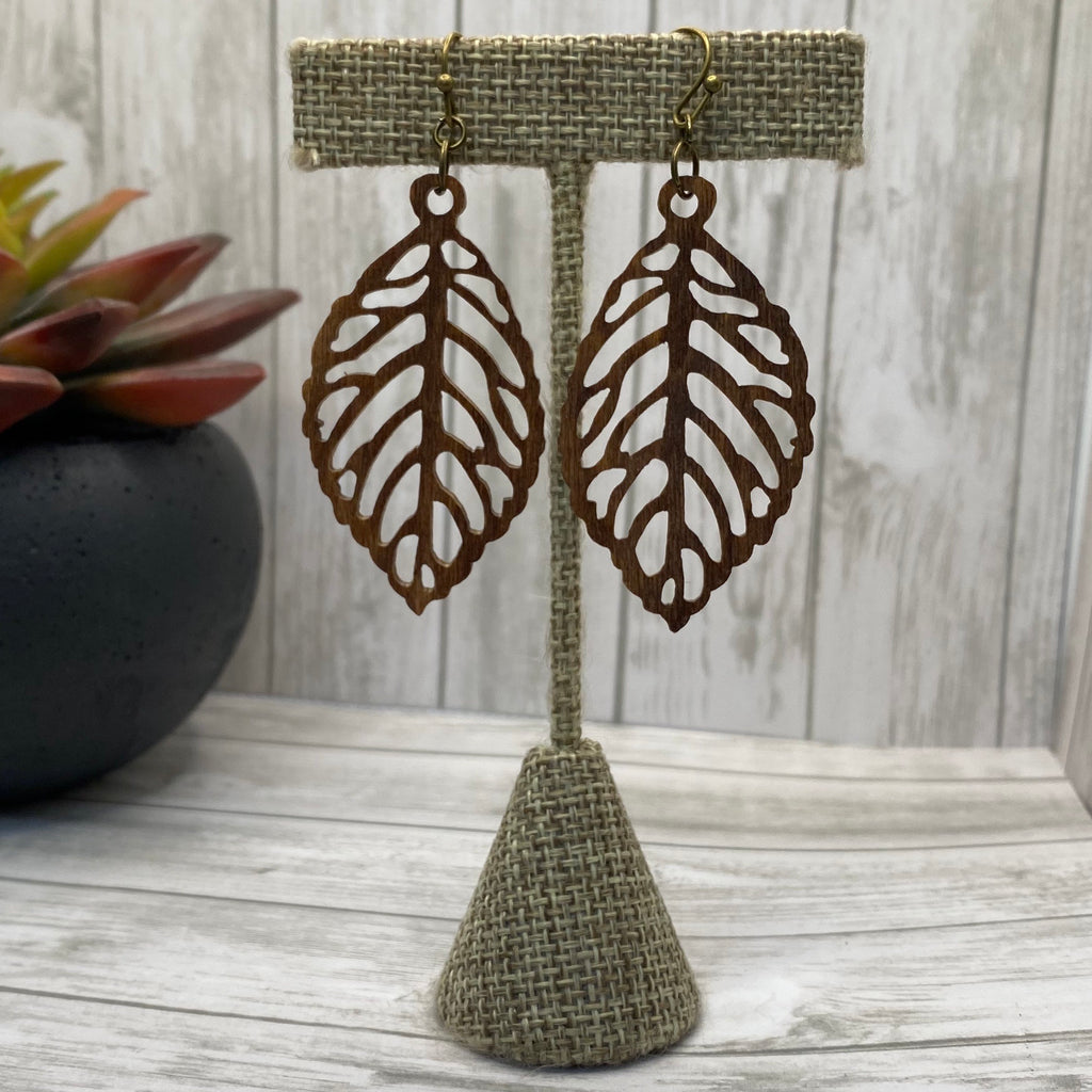 Wood Cutout Leaf Earrings