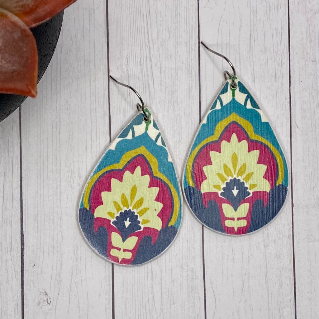 Fuchsia Floral Wood Earrings