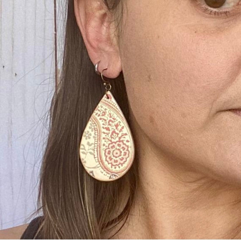 Rust and Cream Paisley Wood Earrings