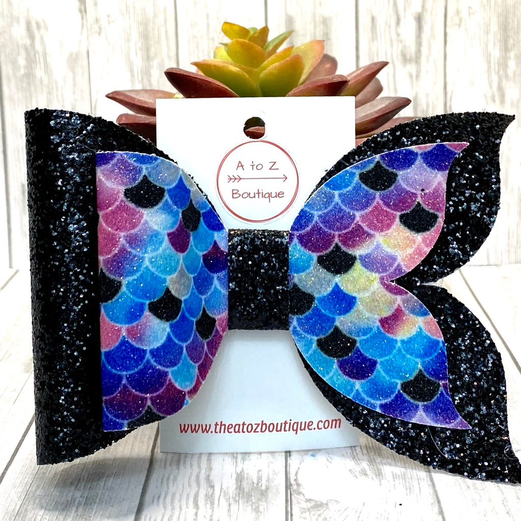 "Purple and Black Glitter Mermaid Tail 6"" Hair Bow"