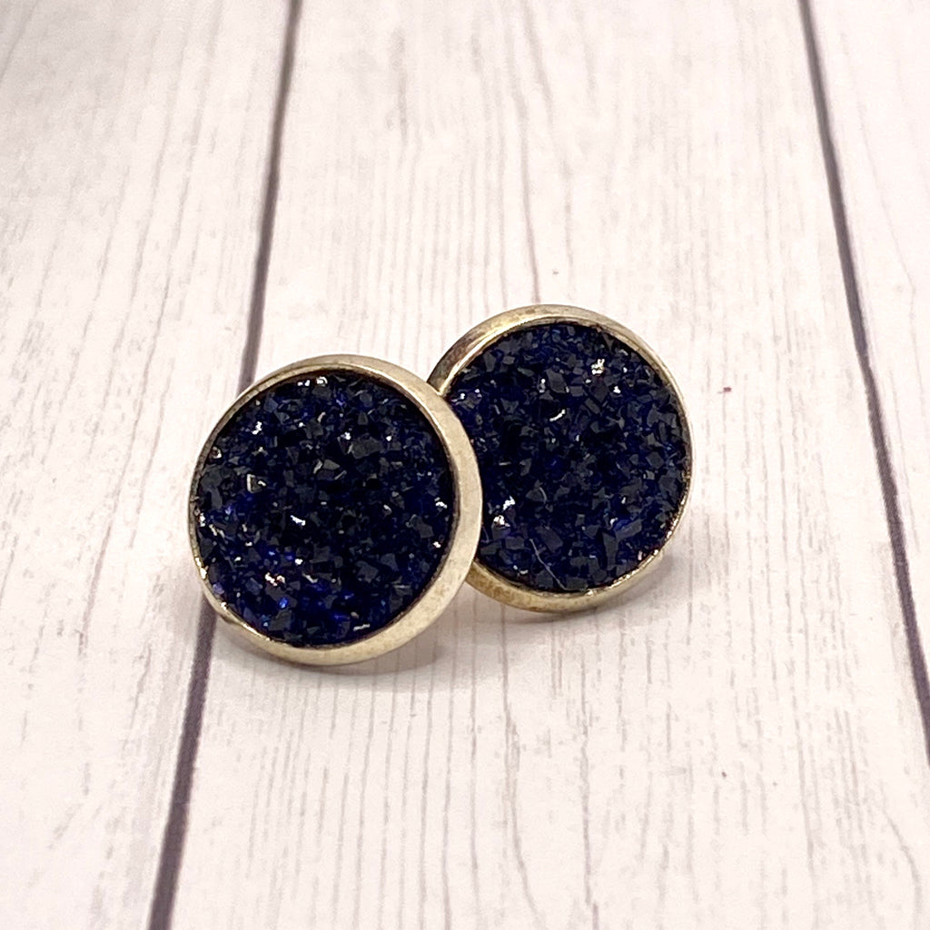 Navy Blue Druzy Stud Earrings