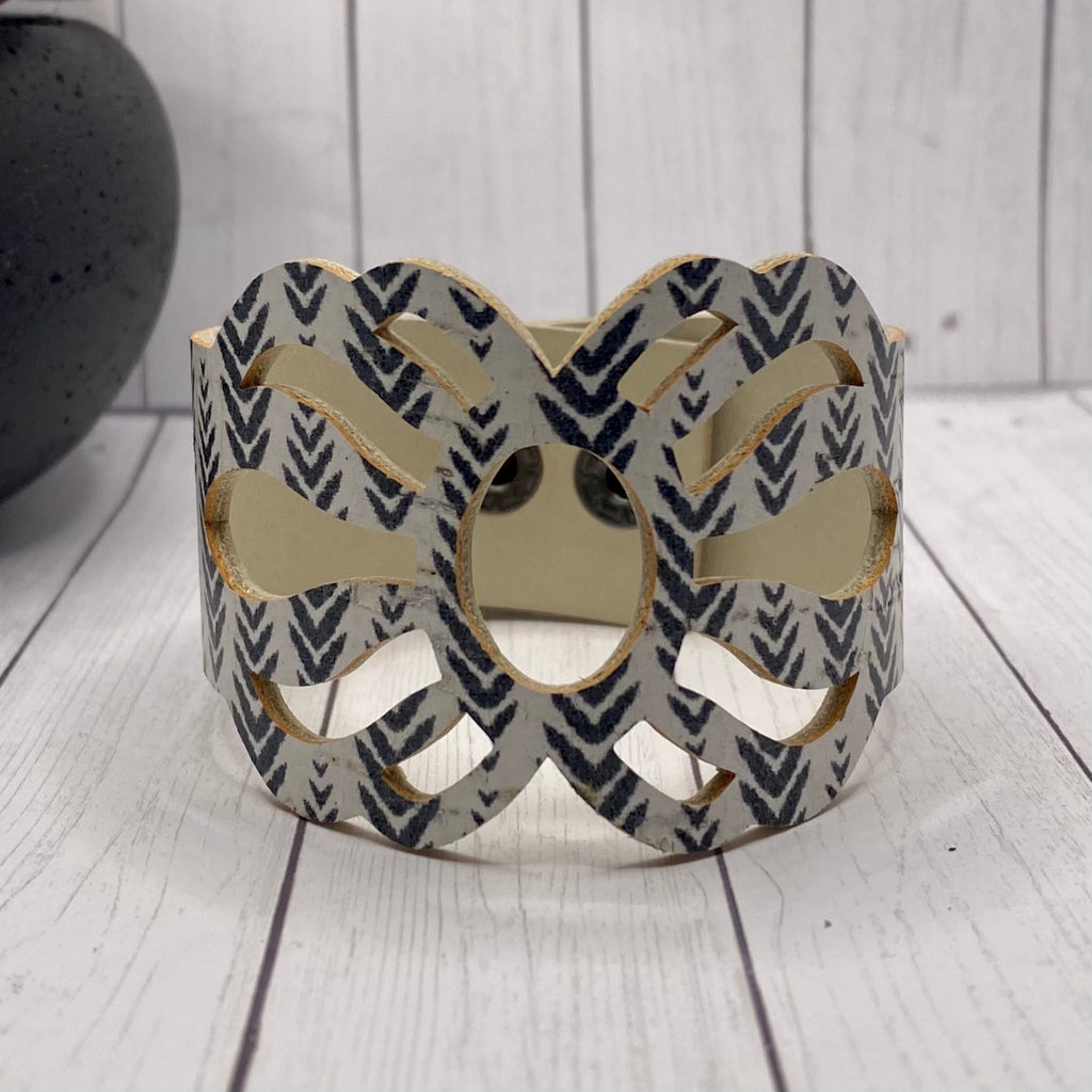 Black and White Cutout Cork Cuff