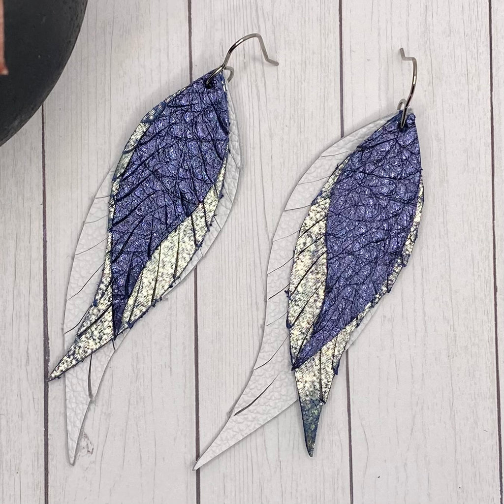Blue Ombre Leather Feather Earrings